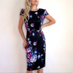 Betsey Johnson Dark Floral Sheath Dress Black Blue